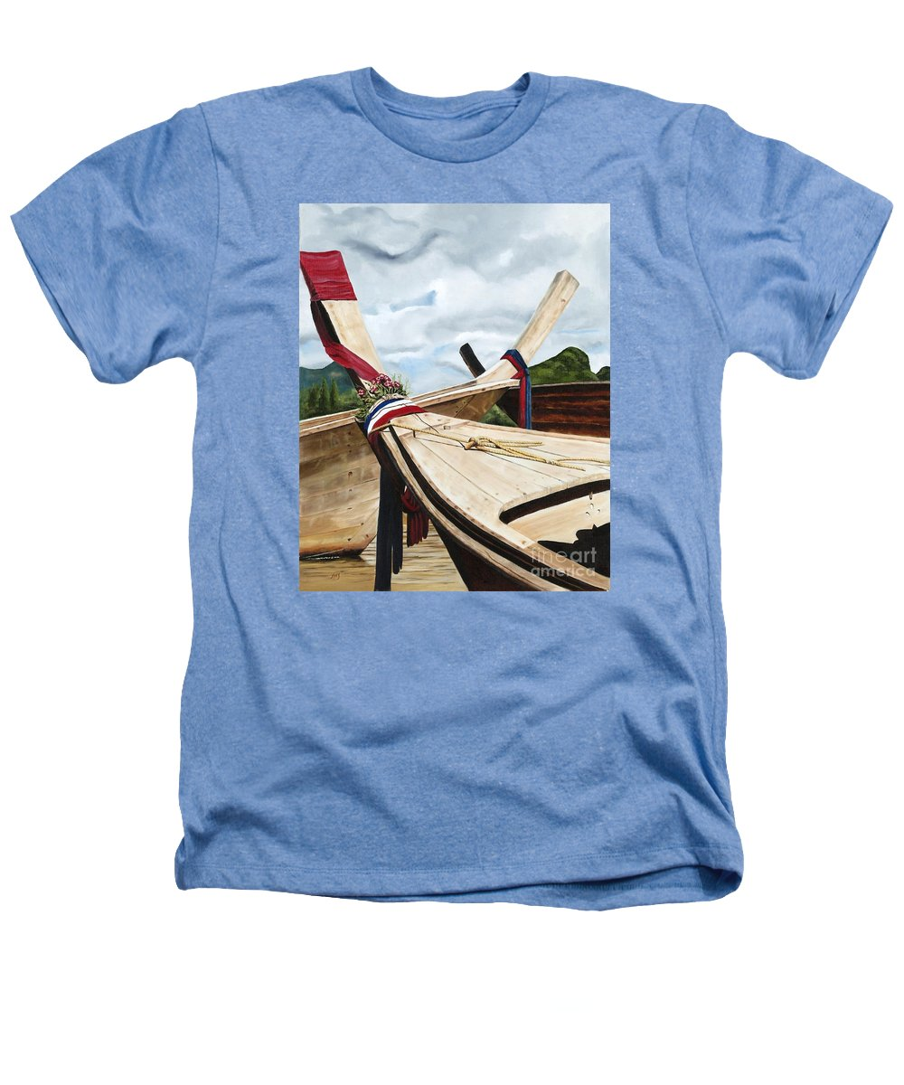Art Heathers T-Shirt featuring the painting Long Tail Boats Of Krabi by Mary Rogers