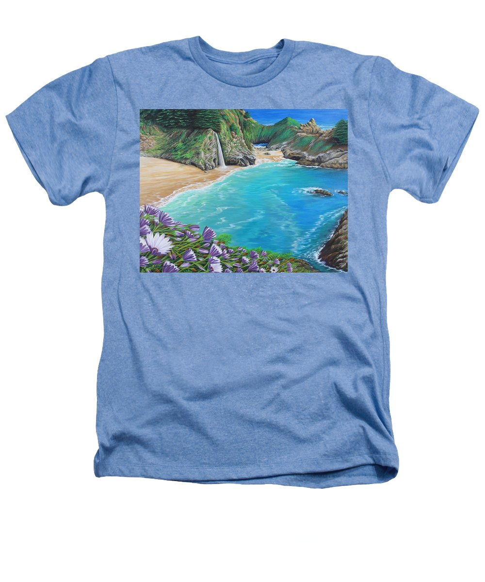 Beach Heathers T-Shirt featuring the painting Mcway Falls by Jane Girardot