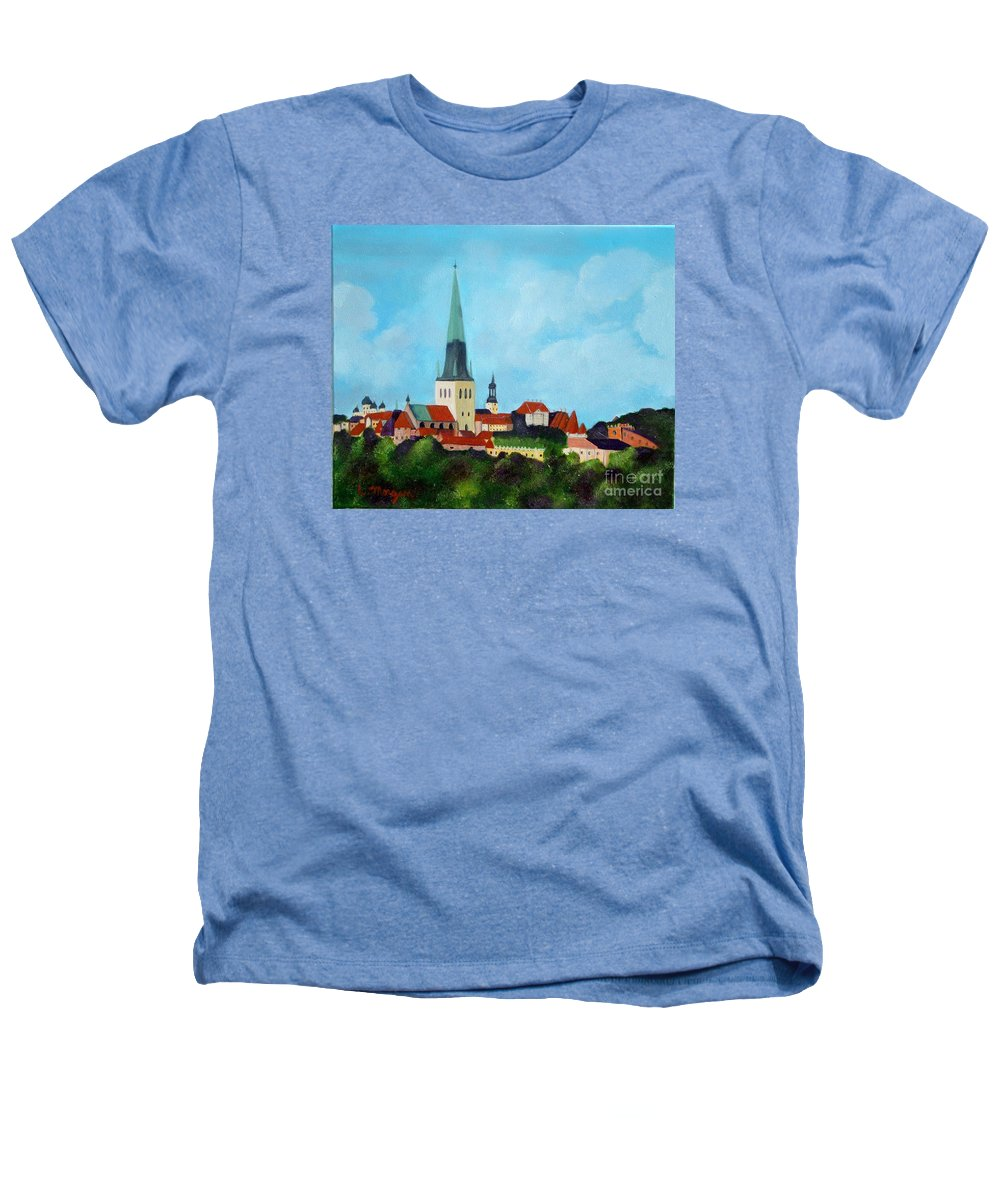 Tallinn Heathers T-Shirt featuring the painting Medieval Tallinn by Laurie Morgan