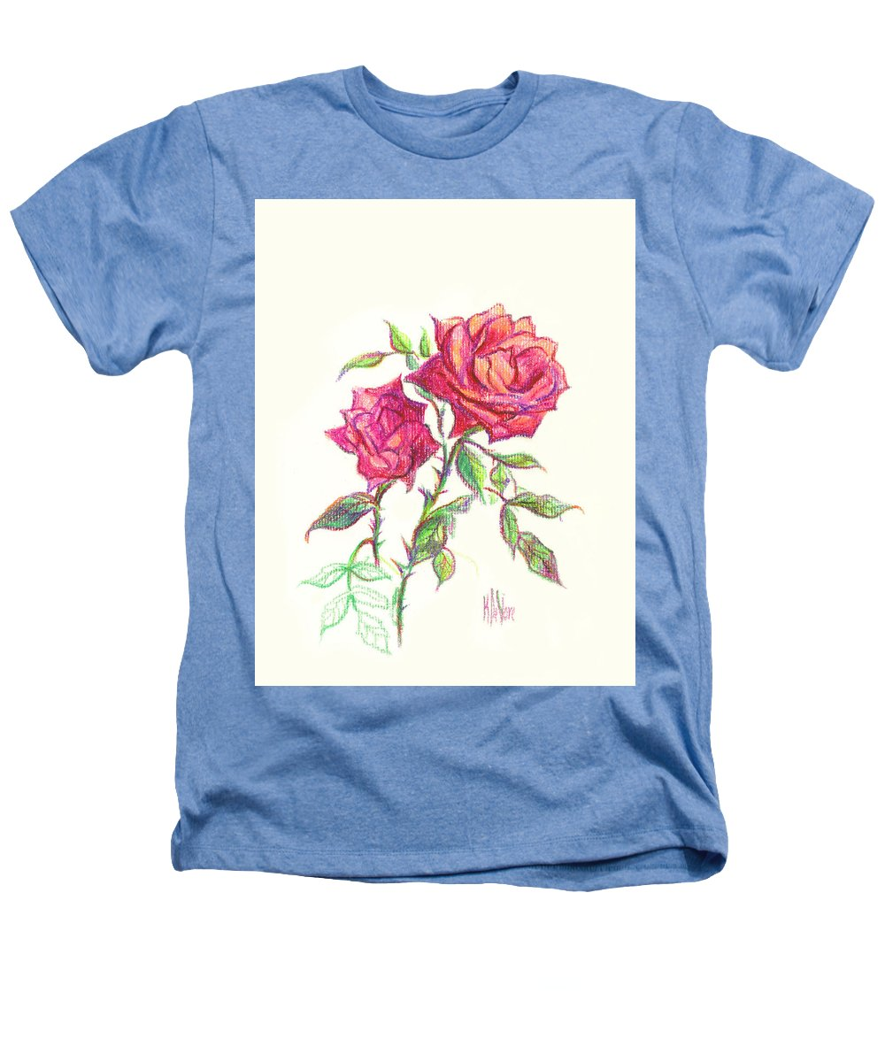 Nature Heathers T-Shirt featuring the painting Minature Red Rose by Kip DeVore
