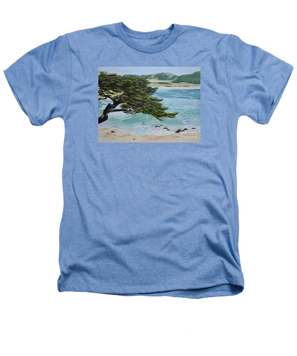 Beach Heathers T-Shirt featuring the painting Monastery Beach by Mary Rogers