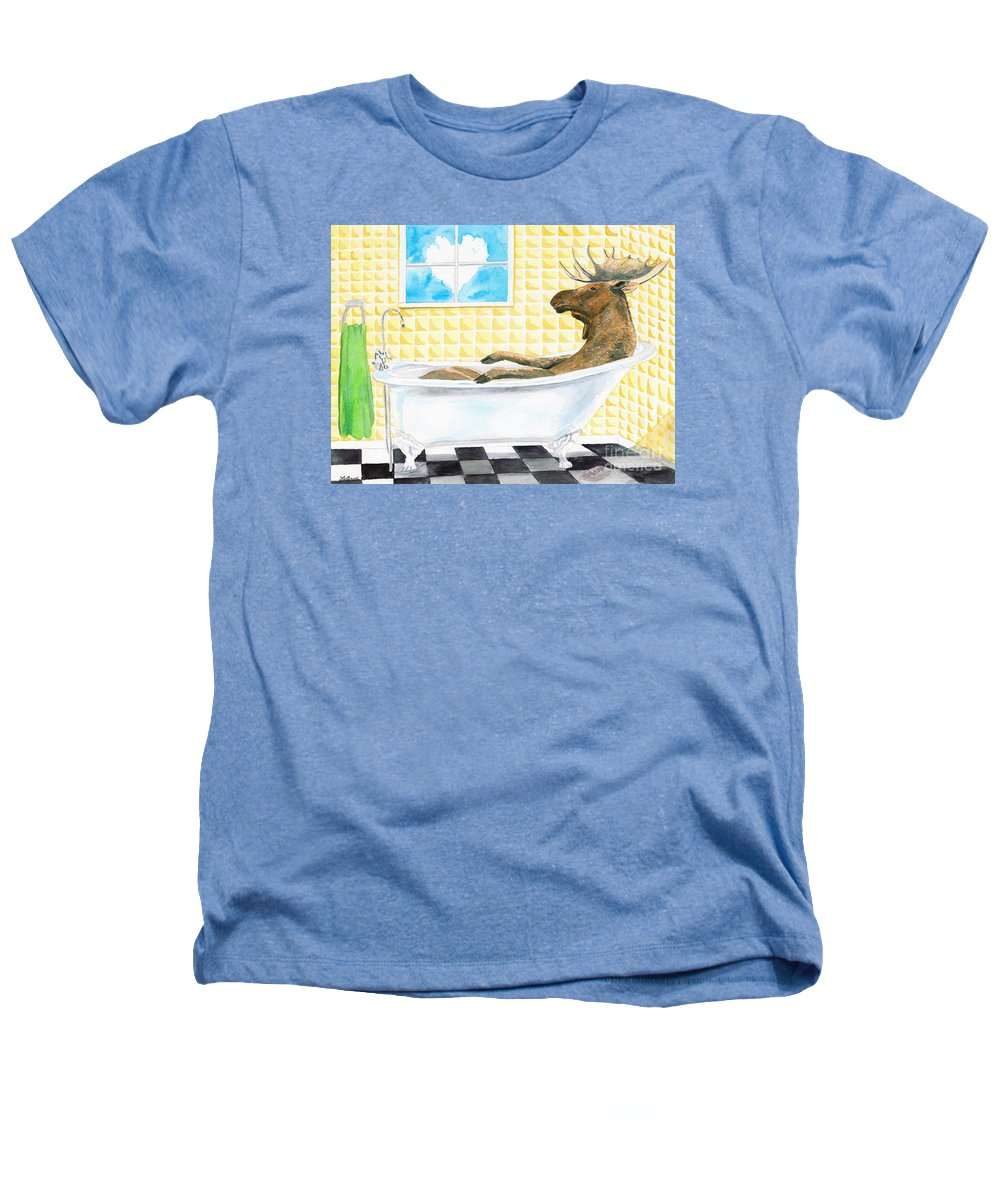 Moose Heathers T-Shirt featuring the painting Moose Bath by LeAnne Sowa