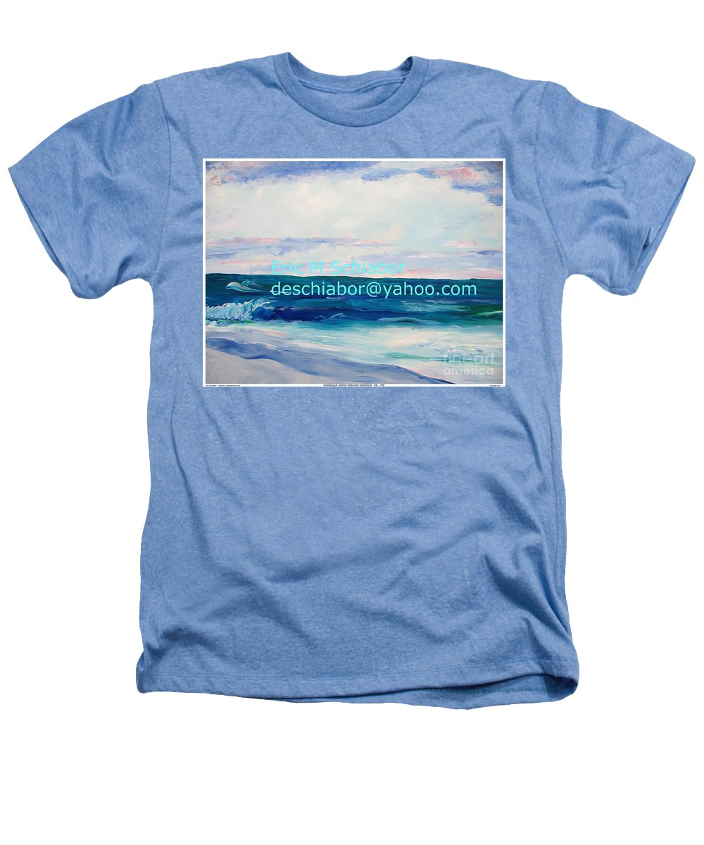 Floral Heathers T-Shirt featuring the painting Ocean Assateague Virginia by Eric Schiabor