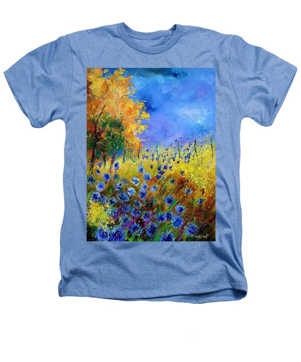 Poppies Heathers T-Shirt featuring the painting Orange Tree And Blue Cornflowers by Pol Ledent