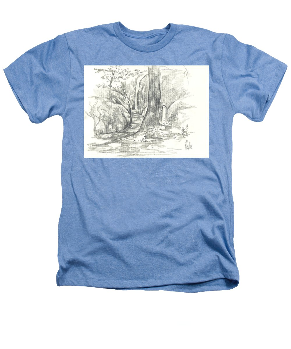 Passageway At Elephant Rocks Heathers T-Shirt featuring the drawing Passageway At Elephant Rocks by Kip DeVore
