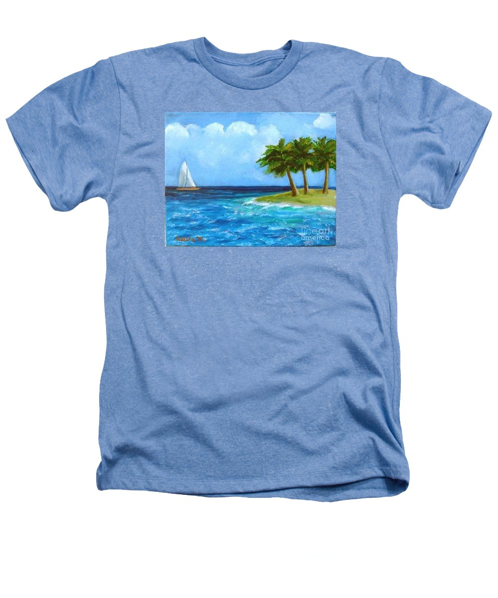 Boats Heathers T-Shirt featuring the painting Perfect Sailing Day by Laurie Morgan