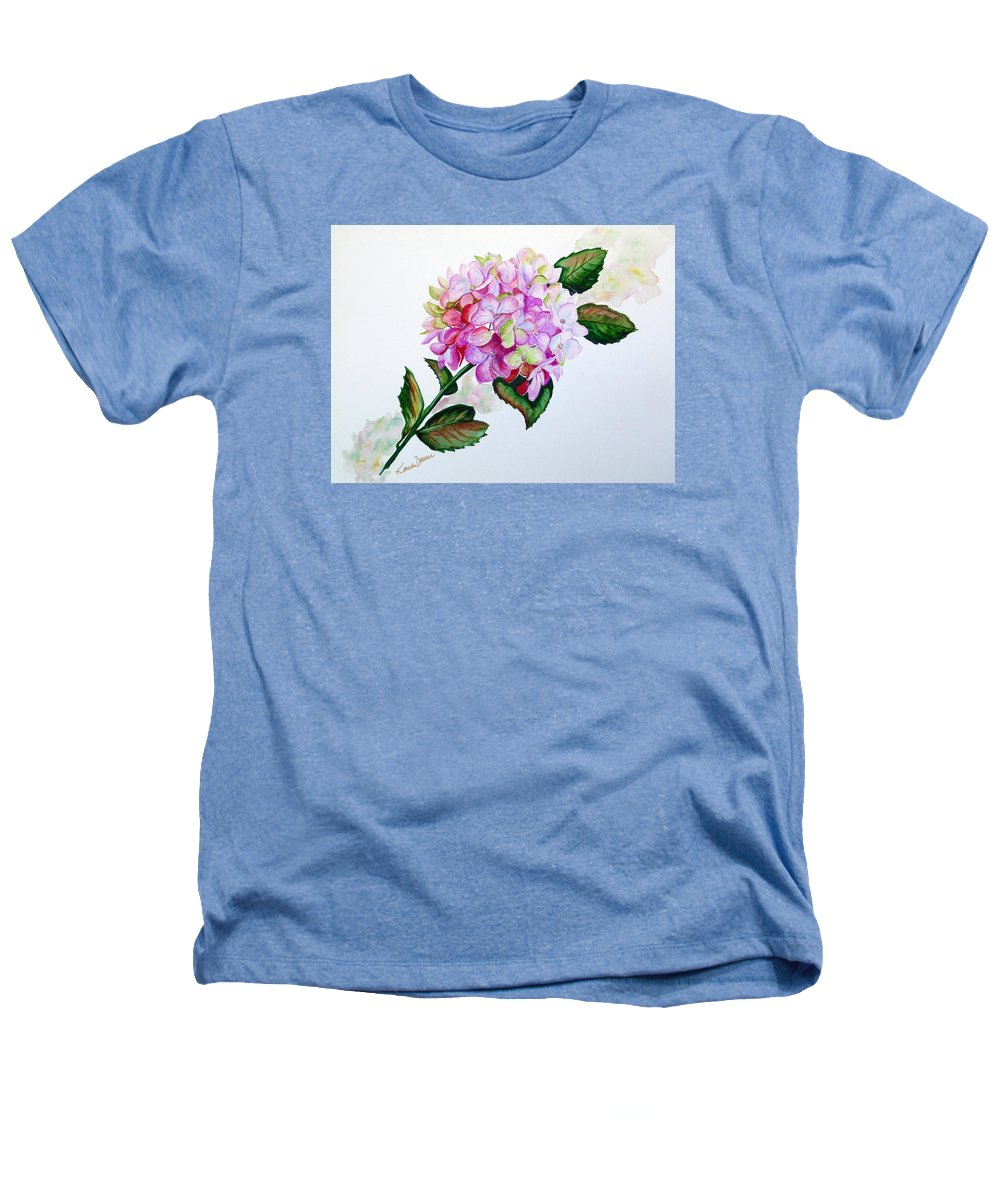 Hydrangea Painting Floral Painting Flower Pink Hydrangea Painting Botanical Painting Flower Painting Botanical Painting Greeting Card Painting Painting Heathers T-Shirt featuring the painting Pretty In Pink by Karin Dawn Kelshall- Best