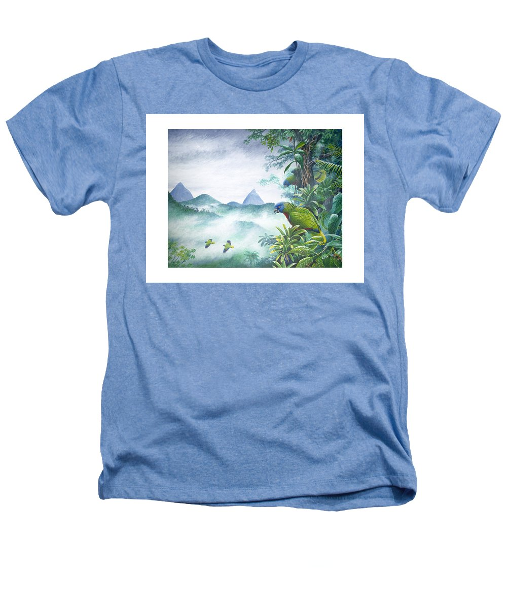 Chris Cox Heathers T-Shirt featuring the painting Rainforest Realm - St. Lucia Parrots by Christopher Cox