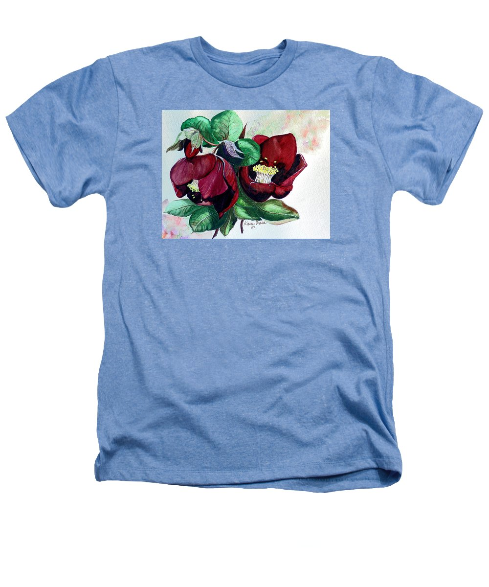 Red Helleborous Painting Flower Painting  Botanical Painting Watercolor Painting Original Painting Floral Painting Flower Painting Red Painting  Greeting Painting Heathers T-Shirt featuring the painting Red Helleborous by Karin Dawn Kelshall- Best