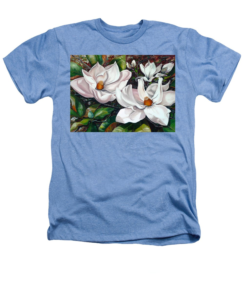 Magnolia Painting Flower Painting Botanical Painting Floral Painting Botanical Bloom Magnolia Flower White Flower Greeting Card Painting Heathers T-Shirt featuring the painting Scent Of The South. by Karin Dawn Kelshall- Best