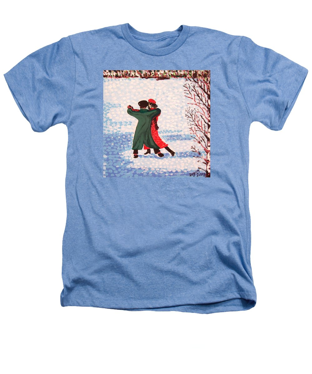 Snow Heathers T-Shirt featuring the painting Snow Tango by Alan Hogan