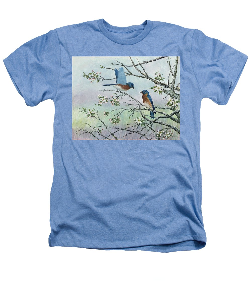 Bluebirds; Trees; Wildlife Heathers T-Shirt featuring the painting The Gift by Ben Kiger