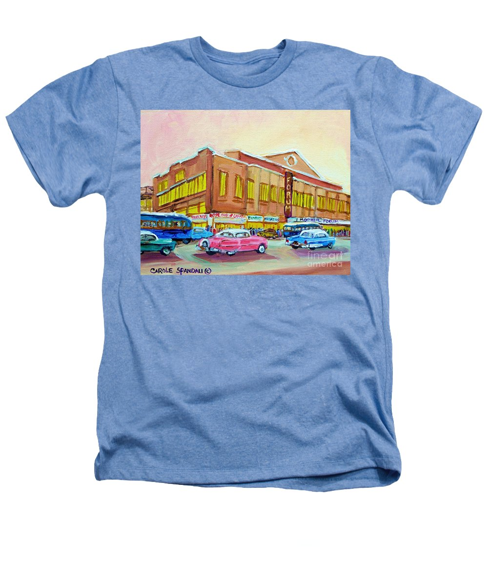 Montreal Heathers T-Shirt featuring the painting The Montreal Forum by Carole Spandau