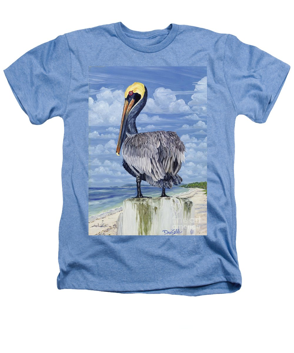 Seascape Heathers T-Shirt featuring the painting The Pelican Perch by Danielle Perry