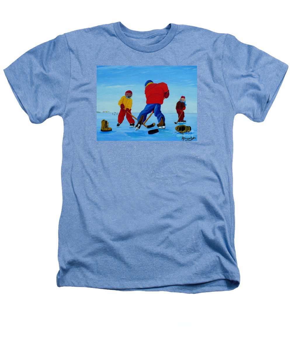Winter Heathers T-Shirt featuring the painting The Pond Hockey Game by Anthony Dunphy