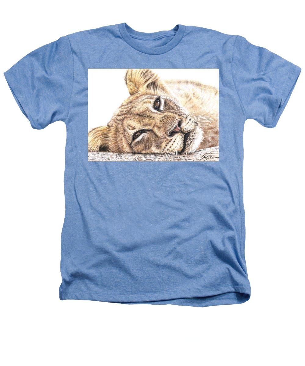 Lion Heathers T-Shirt featuring the drawing Tired Young Lion by Nicole Zeug
