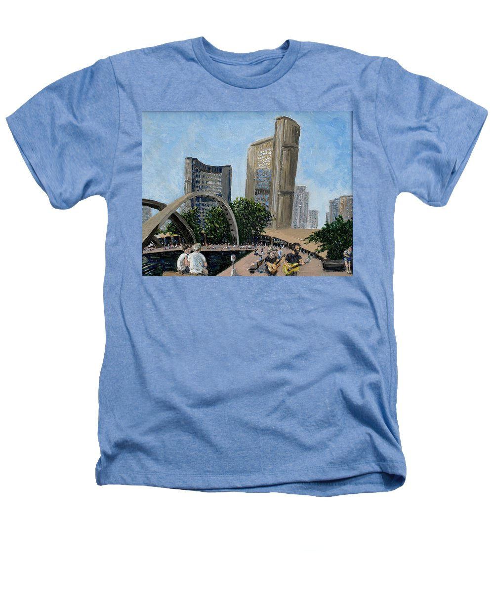 Toronto Heathers T-Shirt featuring the painting Toronto City Hall by Ian MacDonald