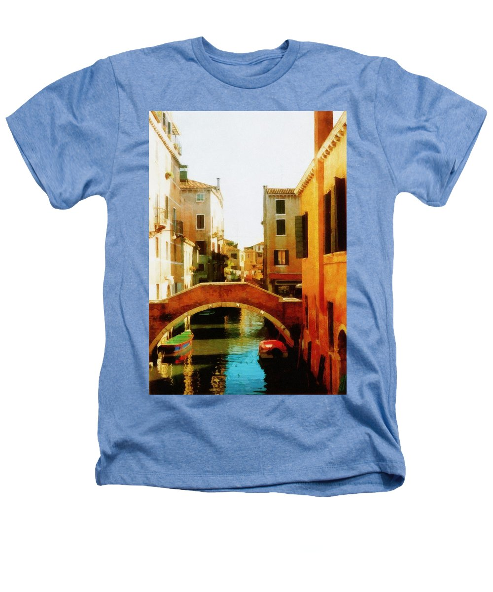 Venice Heathers T-Shirt featuring the photograph Venice Italy Canal With Boats And Laundry by Michelle Calkins