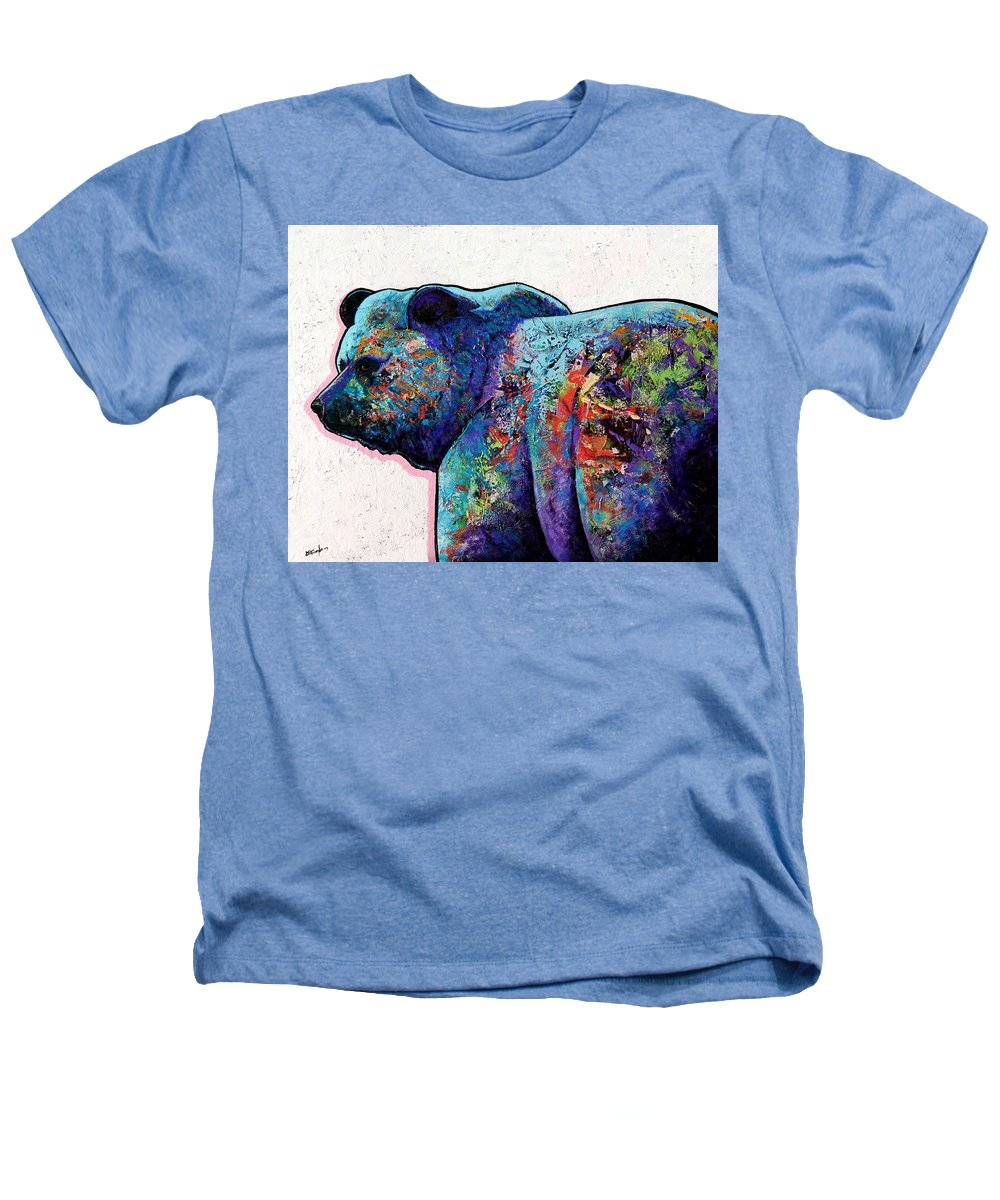 Wildlife Heathers T-Shirt featuring the painting Watchful Eyes - Grizzly Bear by Joe Triano