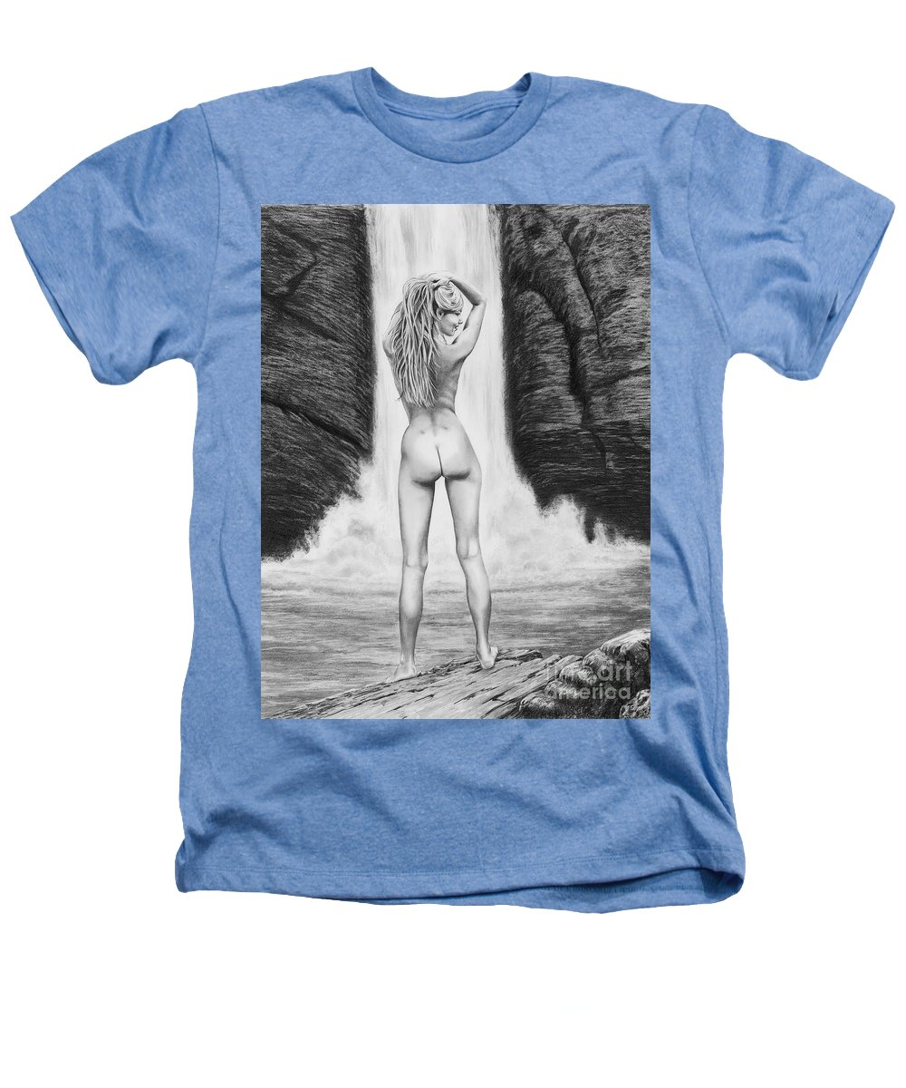 Waterfall Heathers T-Shirt featuring the drawing Waterfall Pin Up Girl by Murphy Elliott
