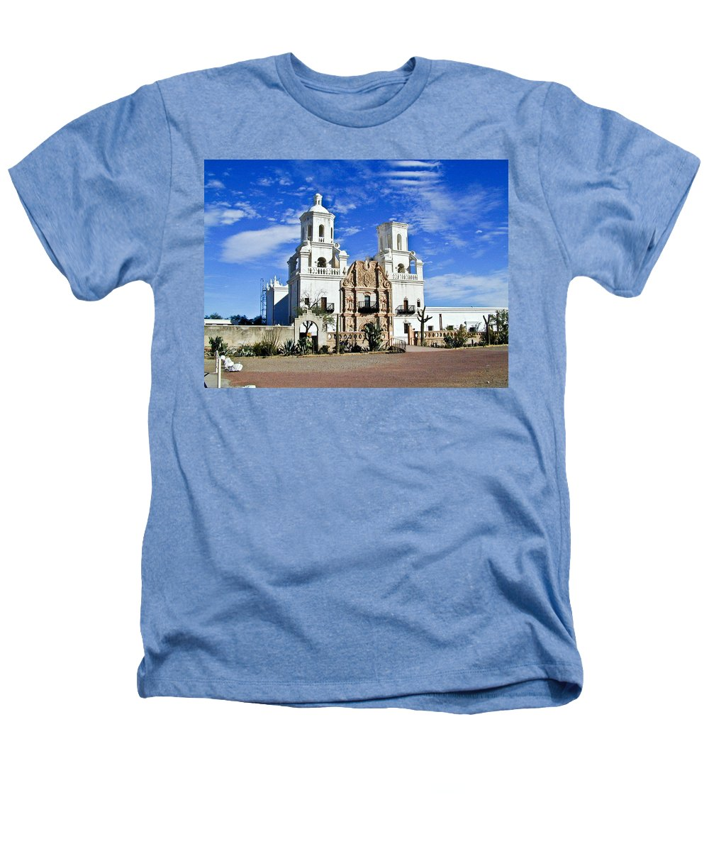 Mission San Xavier Del Bac Heathers T-Shirt featuring the photograph Xavier Tucson Arizona by Douglas Barnett