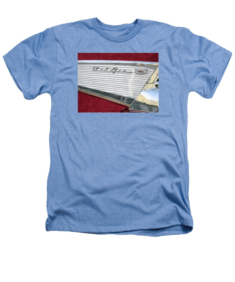 Classic Heathers T-Shirt featuring the drawing 1957 Chevrolet Bel Air Convertible by Rob De Vries