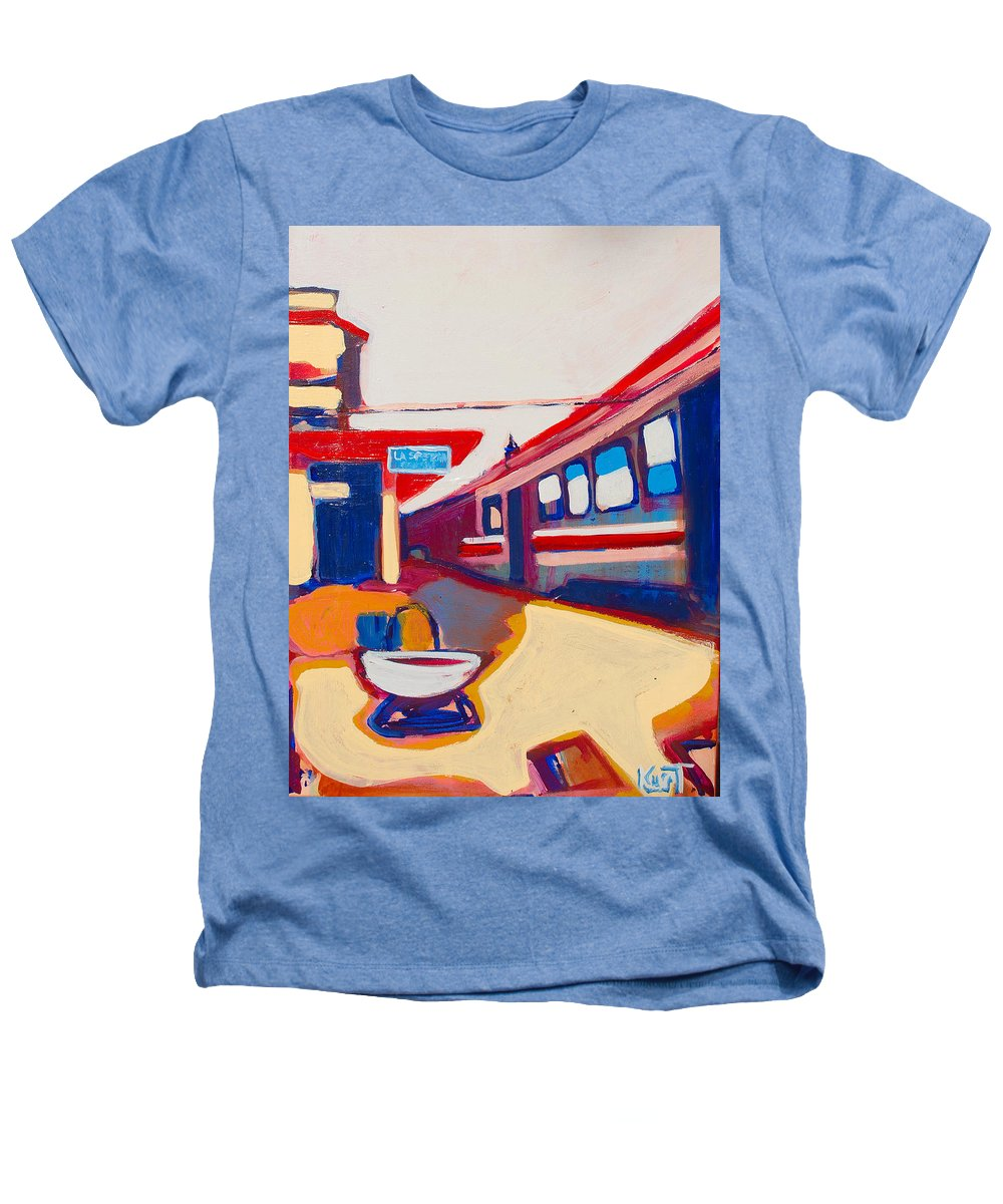 Train Station Heathers T-Shirt featuring the painting Locale by Kurt Hausmann