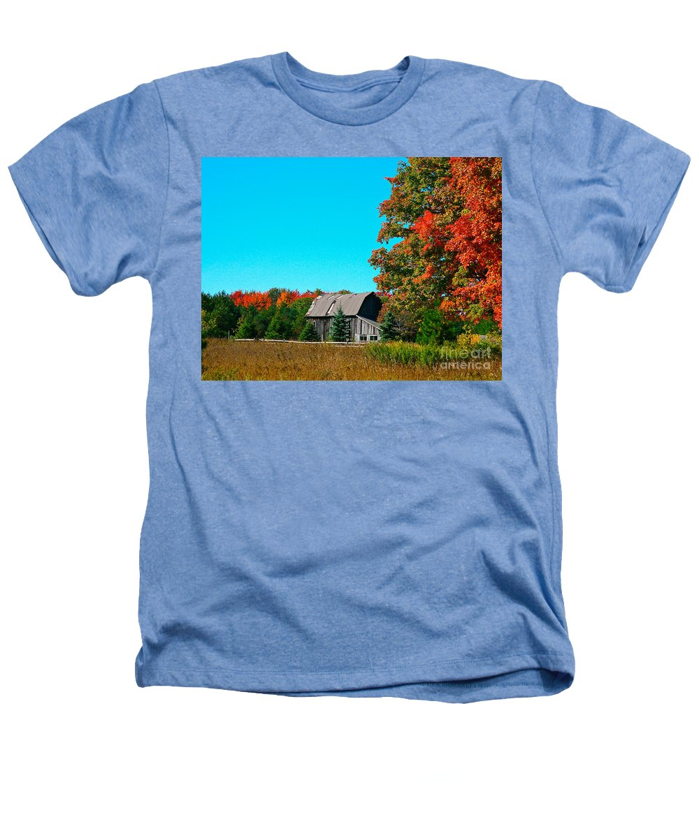 Old Barn Heathers T-Shirt featuring the photograph Old Barn In Fall Color by Robert Pearson