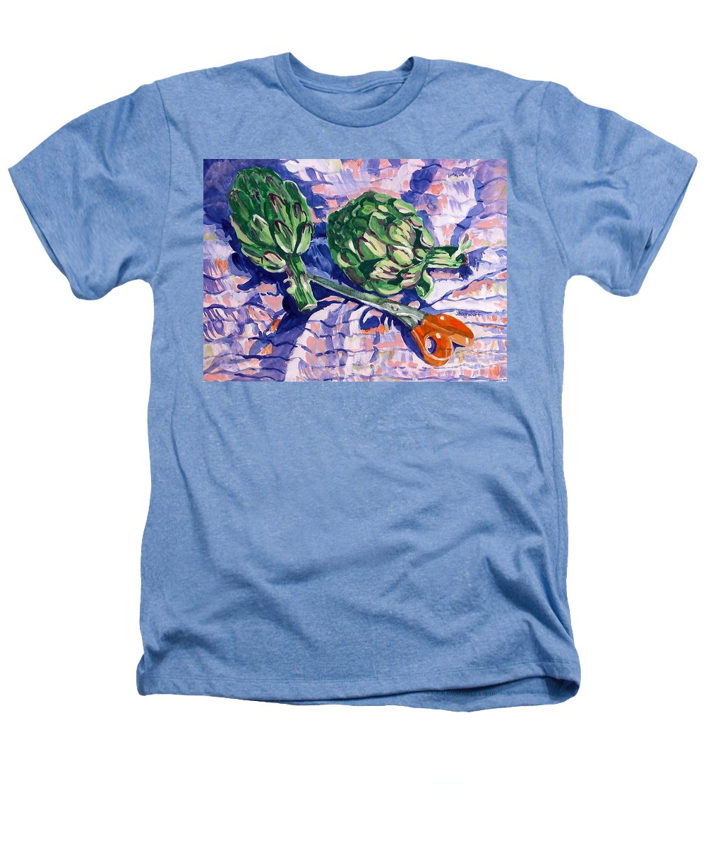 Greens Heathers T-Shirt featuring the painting Edible Flowers by Jan Bennicoff