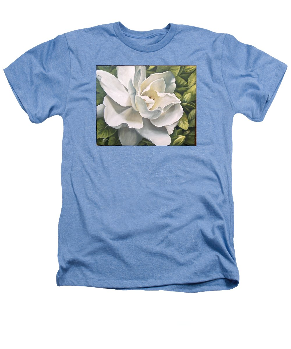 Flower Heathers T-Shirt featuring the painting Gardenia by Natalia Tejera