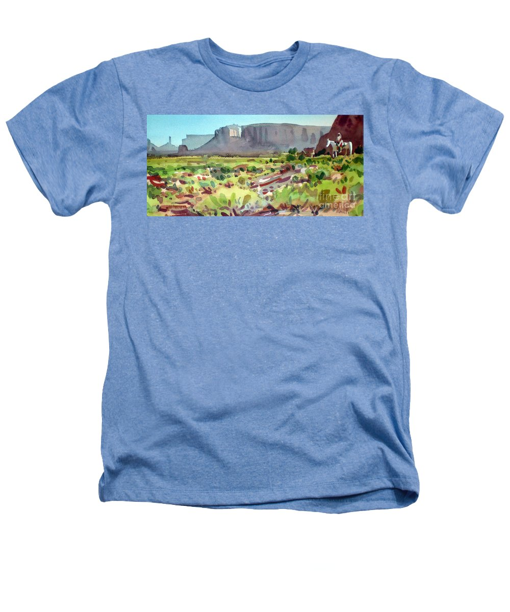 Navajo Heathers T-Shirt featuring the painting Lone Rider by Donald Maier