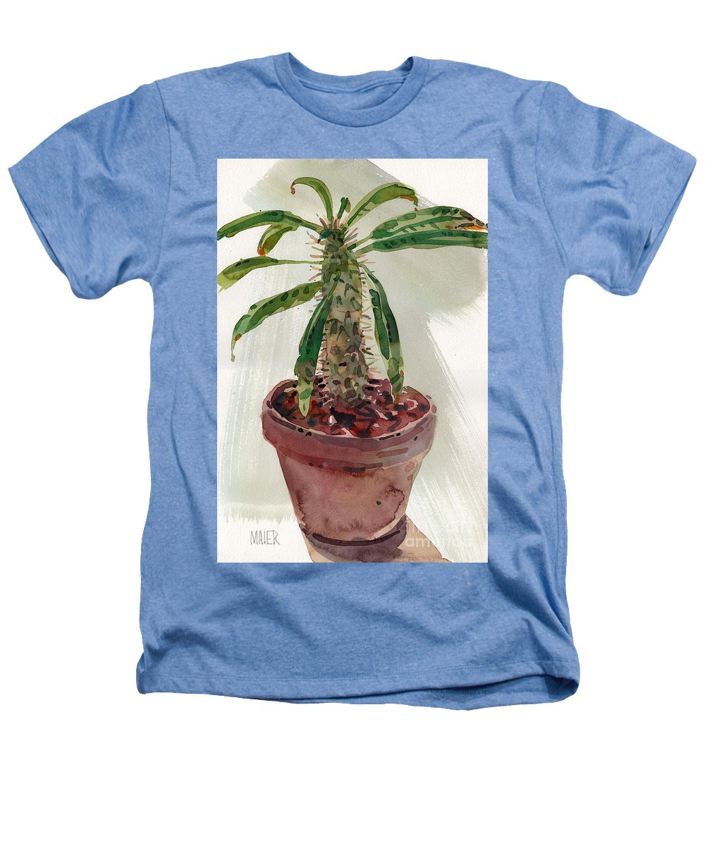 Euphorbia Heathers T-Shirt featuring the painting Pachypodium by Donald Maier