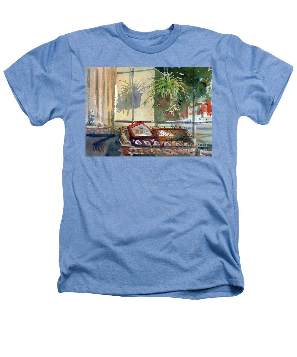 Spider Plant Heathers T-Shirt featuring the painting Spider Plant In The Window by Donald Maier