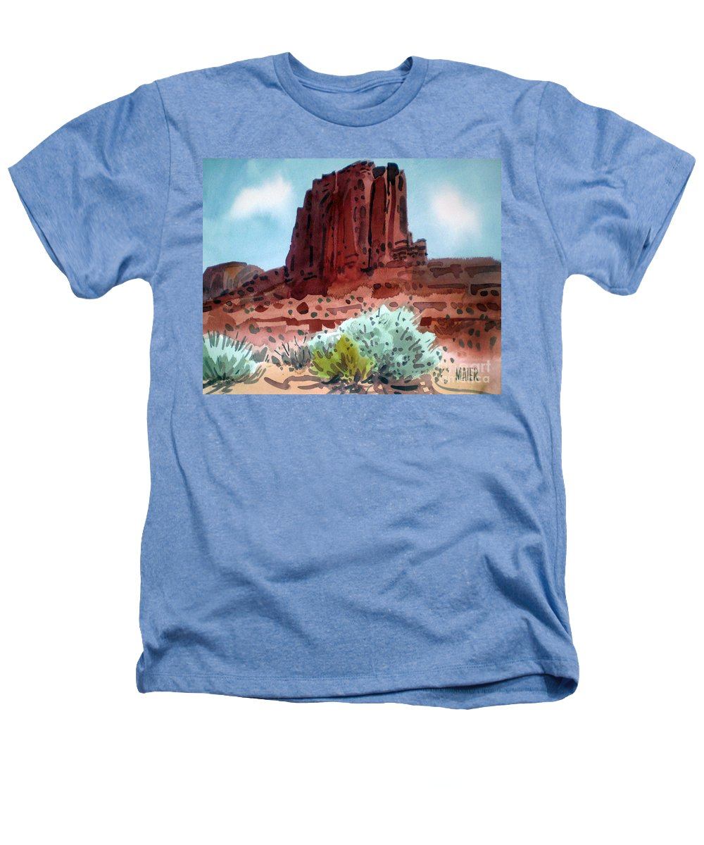 Elephants Butte Heathers T-Shirt featuring the painting Two Elephants Butte by Donald Maier