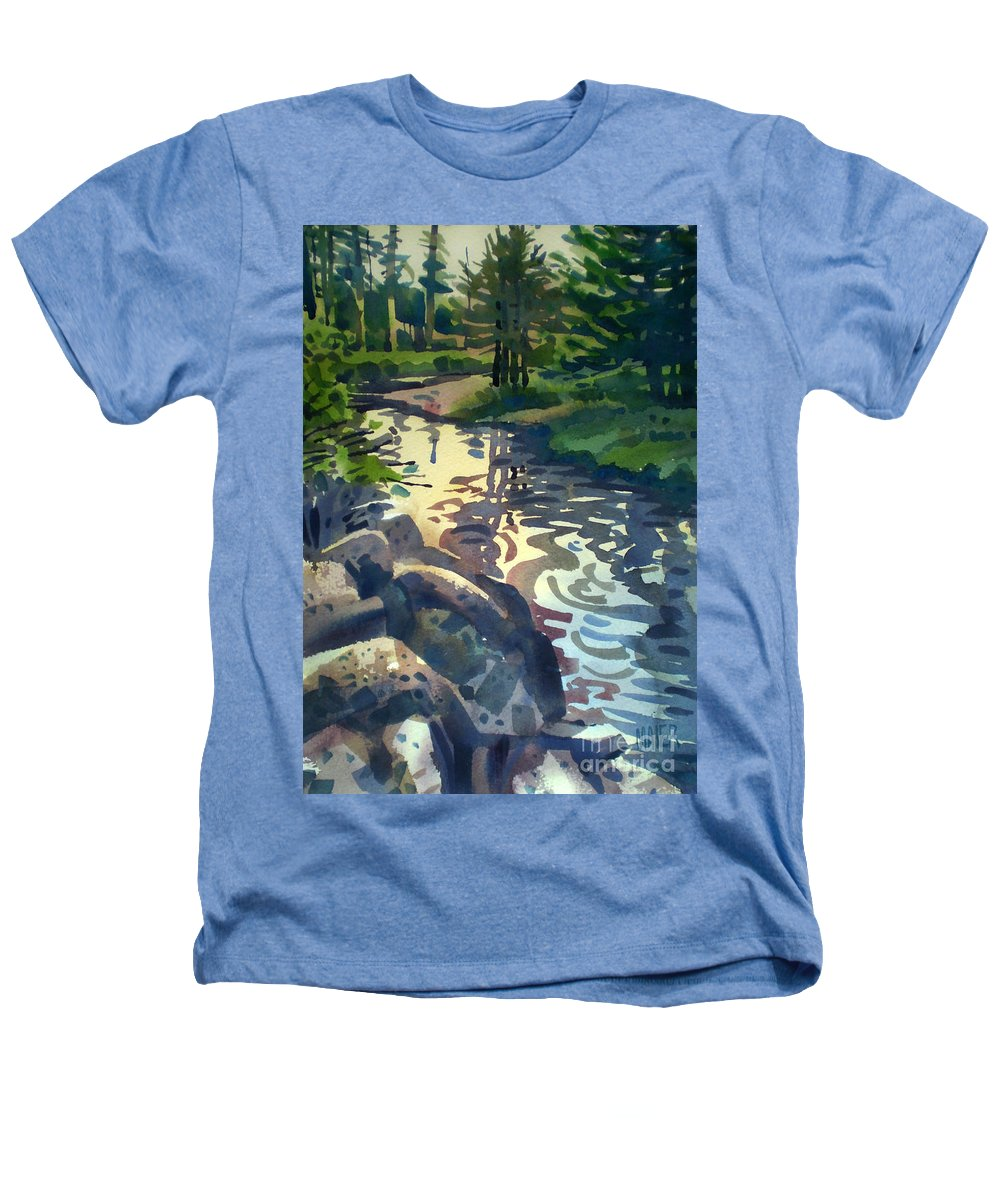 Stream Heathers T-Shirt featuring the painting Up With The Fishes by Donald Maier