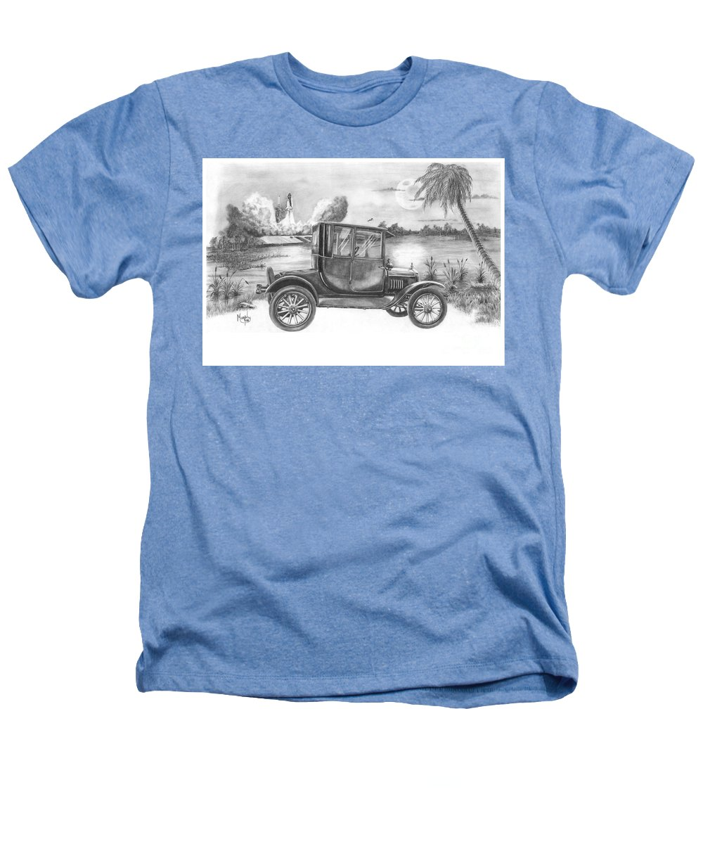 Pencil Heathers T-Shirt featuring the drawing Yesterday And Today by Murphy Elliott