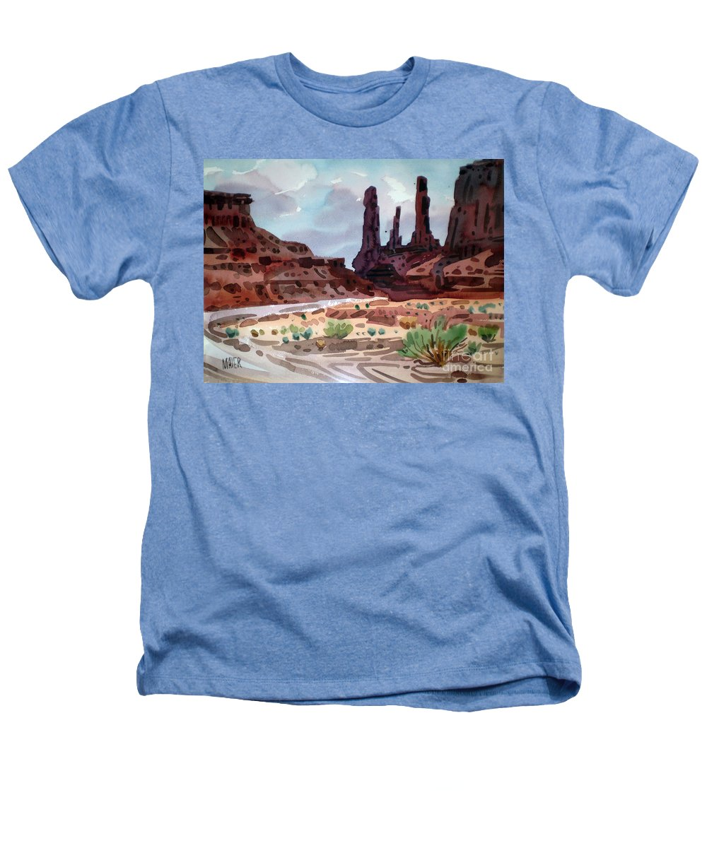 Monument Valley Heathers T-Shirt featuring the painting Three Sisters by Donald Maier