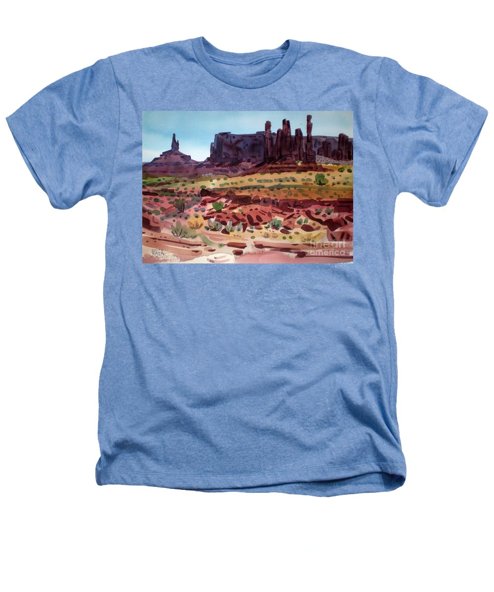 Monument Valley Heathers T-Shirt featuring the painting Totem Poles by Donald Maier