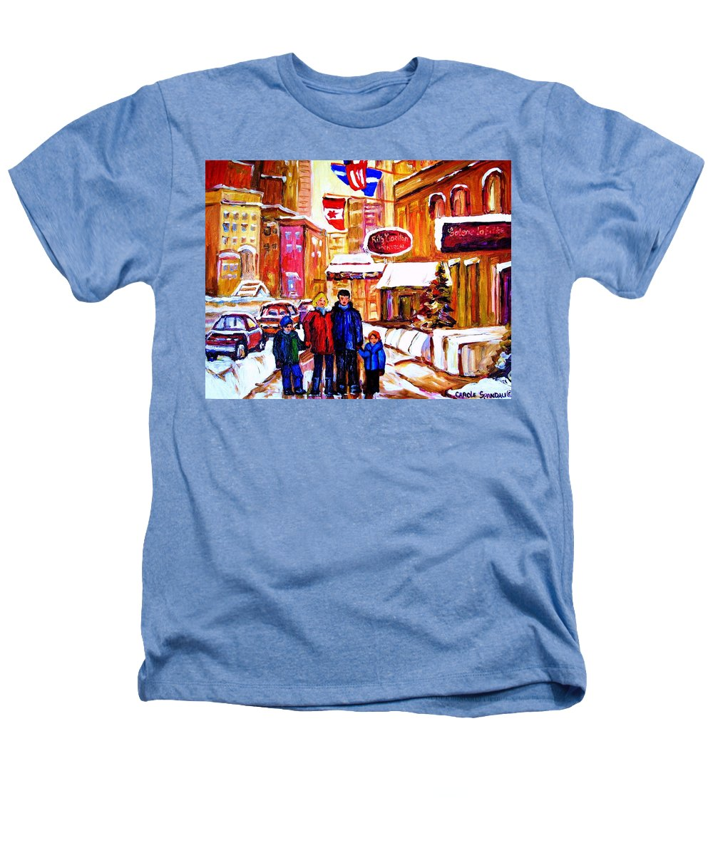 Montreal Heathers T-Shirt featuring the painting Montreal Street In Winter by Carole Spandau