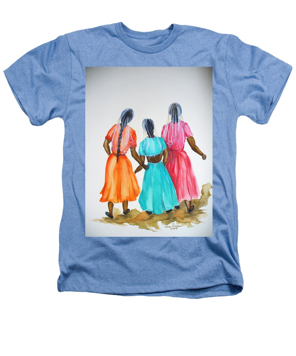 Three Ladies East Indian Heathers T-Shirt featuring the painting 3bff by Karin Dawn Kelshall- Best
