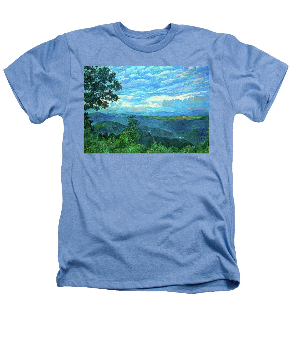 Mountains Heathers T-Shirt featuring the painting A Break In The Clouds by Kendall Kessler