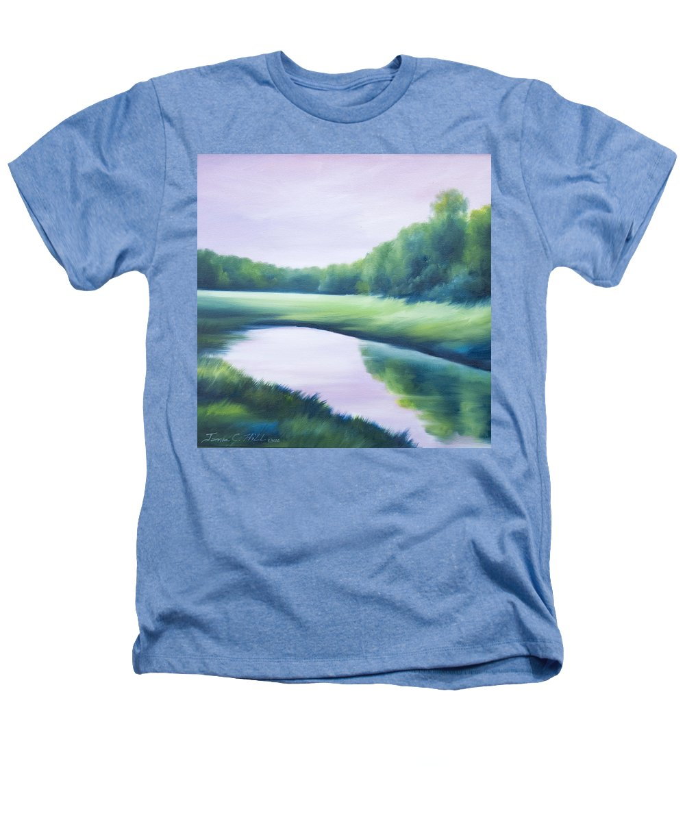 Nature; Lake; Sunset; Sunrise; Serene; Forest; Trees; Water; Ripples; Clearing; Lagoon; James Christopher Hill; Jameshillgallery.com; Foliage; Sky; Realism; Oils; Green; Tree; Blue; Pink; Pond; Lake Heathers T-Shirt featuring the painting A Day In The Life 1 by James Christopher Hill