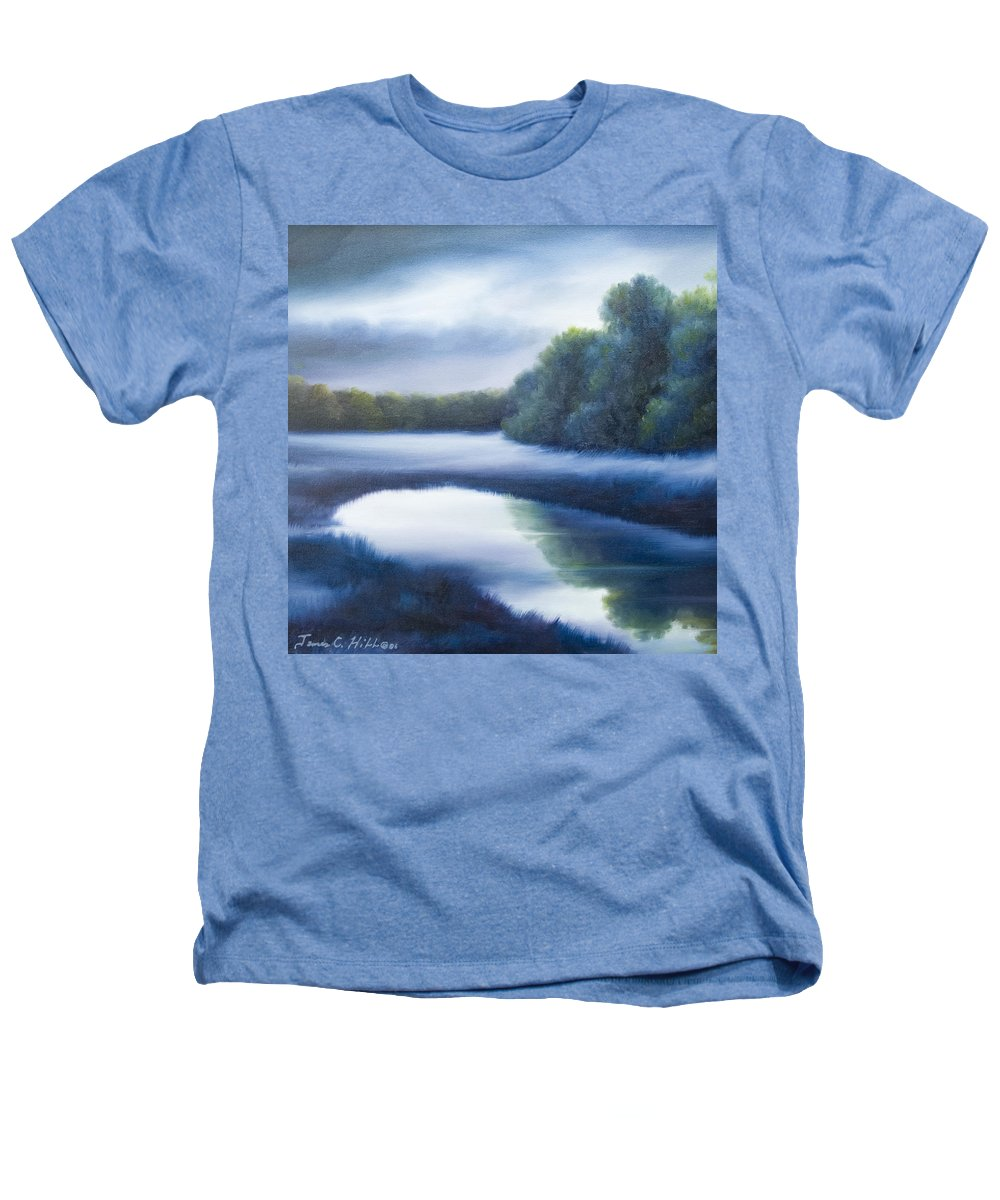 Nature; Lake; Sunset; Sunrise; Serene; Forest; Trees; Water; Ripples; Clearing; Lagoon; James Christopher Hill; Jameshillgallery.com; Foliage; Sky; Realism; Oils; Green; Tree; Blue; Pink; Pond; Lake Heathers T-Shirt featuring the painting A Day In The Life 4 by James Christopher Hill