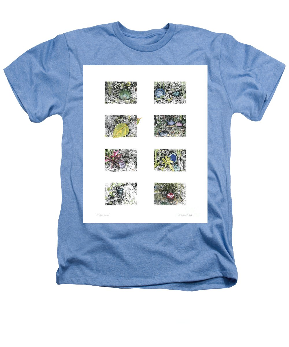 Tropical Heathers T-Shirt featuring the drawing A Potters Garden by Kerryn Madsen-Pietsch