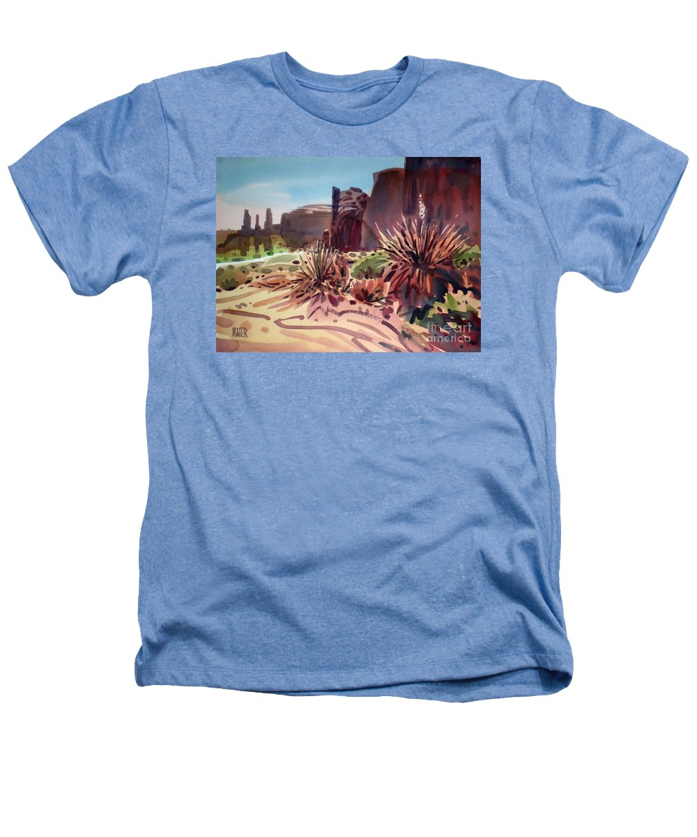 Monument Valley Heathers T-Shirt featuring the painting Across Monument Valley by Donald Maier