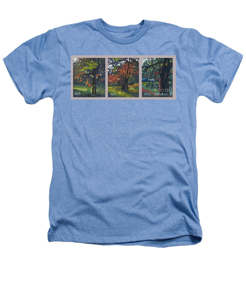 Autumn Foliage Heathers T-Shirt featuring the painting Across The Creek Triplet by Donald Maier
