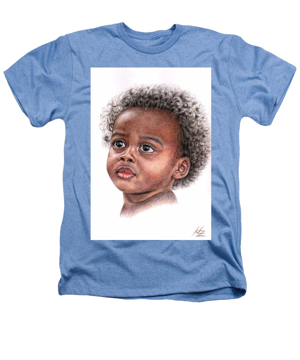 Child Heathers T-Shirt featuring the drawing African Child by Nicole Zeug