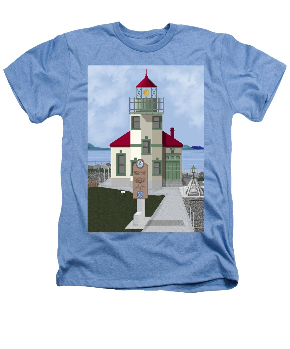 Lighthouse Heathers T-Shirt featuring the painting Alki Point On Elliott Bay by Anne Norskog