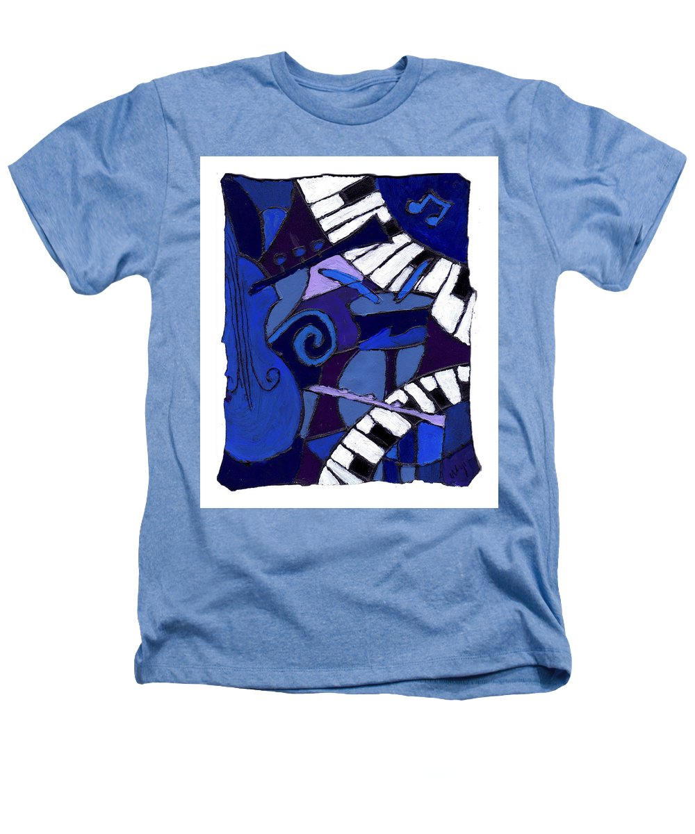 Jazz Heathers T-Shirt featuring the painting All That Jazz 3 by Wayne Potrafka