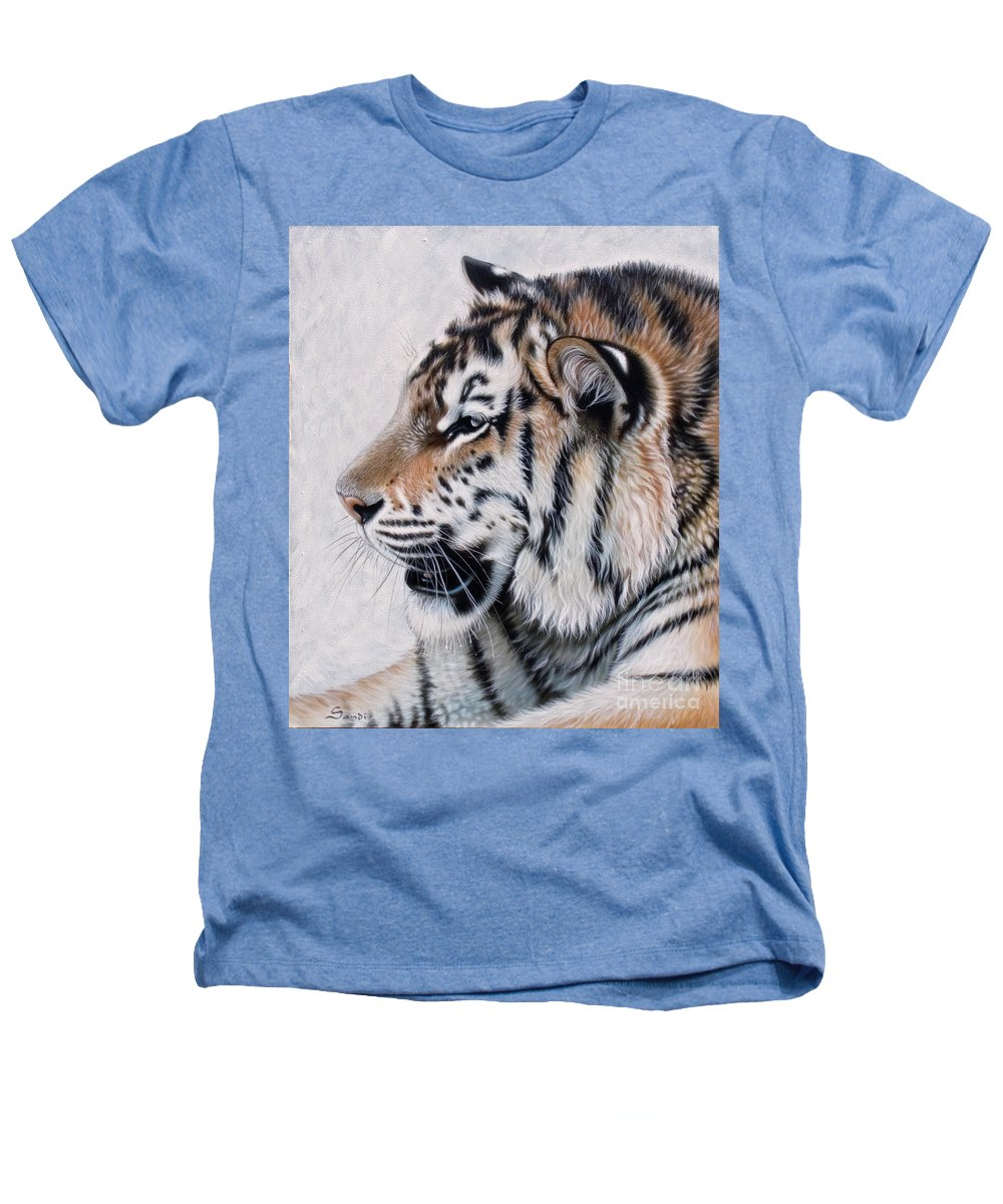 Acrylic Heathers T-Shirt featuring the painting Amur by Sandi Baker
